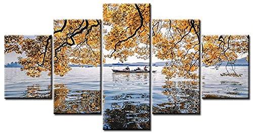 Lienzo conjunto de 5 piezas de pintura de pared de paisaje marino de otoño con patrón de hoja amarilla moderna
