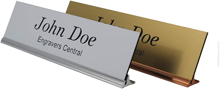 2x8 Personalized Office Desk Name Plate with Silver Holder Employee Desk Sign