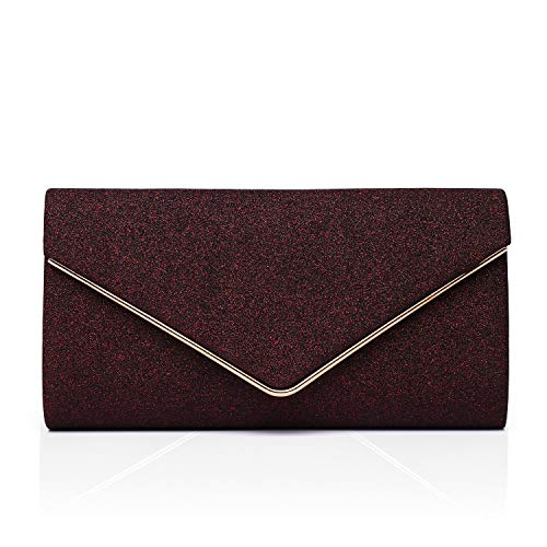 Labair Shining Envelope Clutch Purses for Women Evening Clutches For Wedding and Party,Burgundy,Small.
