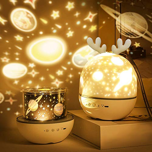 Roysmart Bébé Veilleuse Projecteur, LED Enfant Veilleuse Lampe Musicale et Lumineuse 360°Rotation,8 Chansons,6 Films de Projection, Lampe de projecteur Étoiles pour Chambre,Cadeaux,Anniversaire