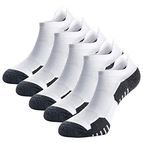 Weekend Peninsula 5 Pares Calcetines Running Deportivos Hombres Mujer, Calcetines Cortos Tobilleros Hombre Mujer Invisibles Bajos Antiampollas (EU 43-46, Blanco - 5 Pares)
