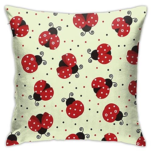 Nature Ladybugs - Funda de cojín decorativa para sofá, sofá, hogar, 45,7 x 45,7 cm