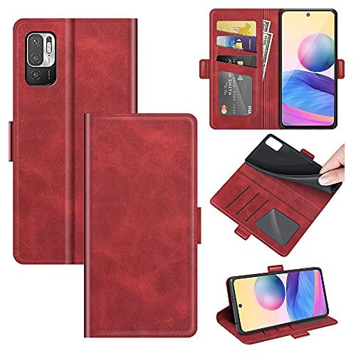 AKC Funda Compatible para Xiaomi Redmi Note 10 5G/Poco M3 Pro 5G Carcasa Caja Case con Flip Folio Funda Cuero Premium Cover Libro Cartera Magnético Caso Tarjetero y Suporte-Rojo