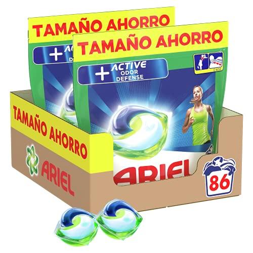 Ariel Pods Detergente Lavadora Cápsulas, 86 Lavados (Pack 2 x 43), Active Odor Defense