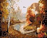 N/O Pintura por números para Adultos DIY Pintura al óleo Kit Camino de Finales de otoño óleo Digital Niños decoración de la Pared del Arte de la Sala Vista 16X20 Pulgadas(con Marco)
