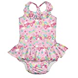 i play. 1pc Ruffle Swimsuit w/Built-in Reusable Absorbent Swim Diaper-Light Pink Dragonfly Floral