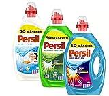 Persil Detergente de 3 unidades, mezcla universal de gel + gel de color Kraft-Gel + Sensitive Gel 150 (3 x 50) lavados, 2 detergentes completos, 1 detergente de color.