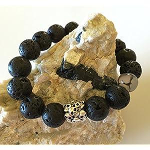 Men's Lava Stone Dragon Vein Agate Gemstone Beaded Bracelet