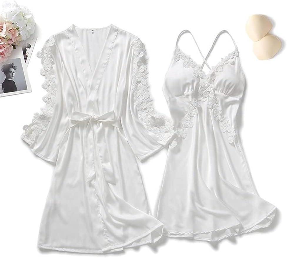Women Nighty Robe Suit Silky Sleepwear Nightdress Satin Same day shipping Seasonal Wrap Introduction Kim Sexy