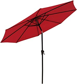 COBANA 9 Ft Aluminum Patio Market Umbrella 8 Aluminum Ribs with Push Button Tilt, 250g/sqm Polyester, Red