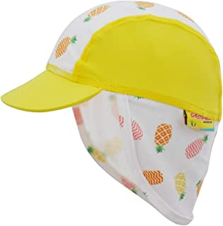 Cheekaaboo Lightweight UPF50 Sun Protection Legionnaire Hat for Baby Toddler Kids, 4-8 Years Old, Orange/Pineapple