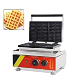 Hanchen Rectangle Waffle Maker Machine Square Belgian Waffle Maker 10Pcs Nonstick Temperature and...
