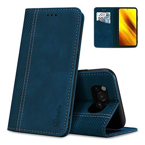 AKABEILA Poco X3 NFC Hülle Leder Xiaomi Poco X3 / X3 NFC / X3 PRO / C3 Handyhülle, Kompatibel für Xiaomi Poco X3 NFC Schutzhülle Brieftasche Klapphülle PU Magnetverschluss Kartenfächer Hüllen, Blau