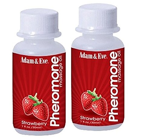 Adam and Eve Pheromone Massage Oil Strawberry Scented Travel Size : Size 1oz PACK OF 2
