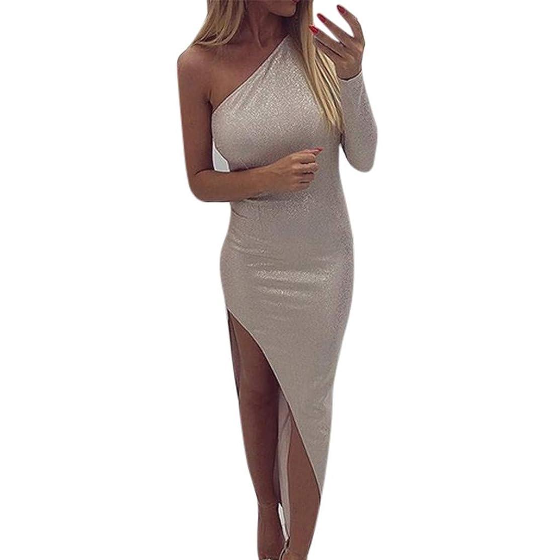 Women's Dresses Sexy Ruffle One Shoulder Sleeveless Split Bodycon Midi Party Dress