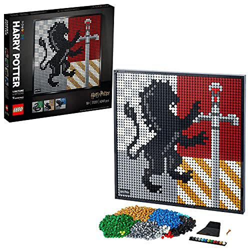 LEGO Art Harry Potter Hogwarts Crests, Poster DIY, Decorazione Parete, Quadro Personalizzabile, Set per Adulti, 31201