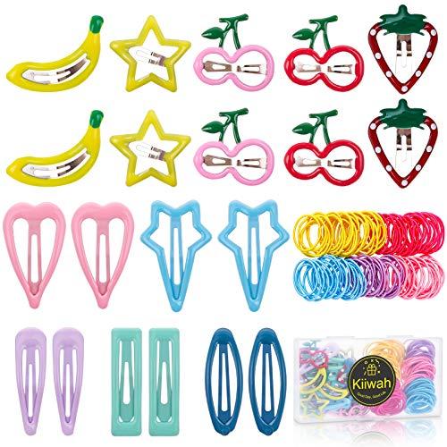 120 Stück Mädchen Haarschmuck Set, Mini Haarspangen Haargummis Mehrfarbig Haarclips Haarschmuck zum Baby Kinder Mädchen