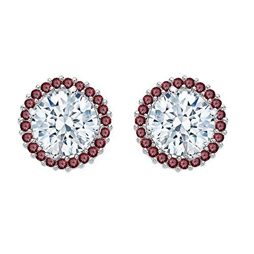 KATARINA Garnet Floral Earring Jackets in 14K White Gold (5/8 cttw)