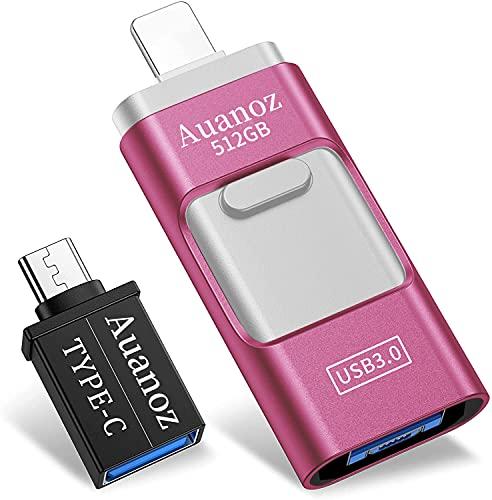 Auanoz Memoria USB 512 GB 4 en 1 Pendrive para Phone Pad Android Computadoras Laptops Flash Drive USB 3.0 Expansión de Memoria Memory Stick.