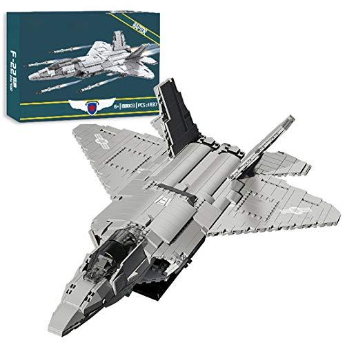 Lommer Technics Aereo F-22 Raptor Fighter Building Set, 1837 pezzi Elicottero Fighter Aerei Militare Modello Kit Aereo, Building Block Costruzione Set Compatibile con Lego