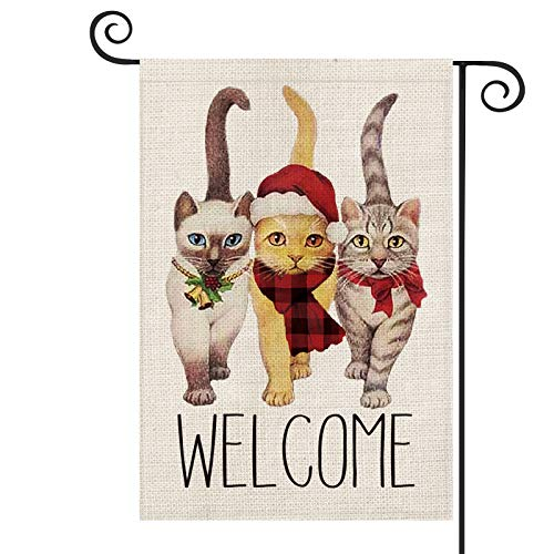 AVOIN Christmas Welcome Cat Garden Flag Vertical Double Sized, Winter Holiday Buffalo Check Plaid Scarf Bow Bell Yard Outdoor Decoration 12.5 x 18 Inch