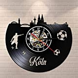 Reloj de Pared con Disco de Vinilo Vintage de Horizonte de Colonia Reloj de Pared con Paisaje Urbano de Colonia Reloj de Pared silencioso sin tictac Regalo de Viaje de Alemania 12 Pulgadas