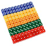 ShellKingdom 100 Count Multicolor Game Dice Set with Round Edge, Assorted Colored 16mm Solid & Translucent Colorful Acrylic Dice for Farkel, Party Favors (Multi)