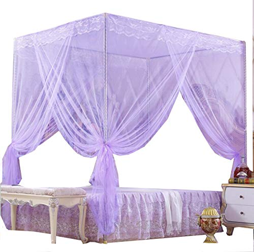 Nattey 5 Corners Princess Bed Curtain Canopy Canopies For Girls Boys Adults Bed Gift (Twin, Purple)