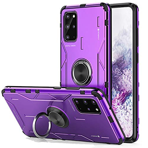 JXTech Galaxy S20 Plus Kickstand Case, Magnetic Car Mount Slim Fit Hard Aluminum Alloy Soft TPU Silicone Bumper Shockproof Cover with Ring Holder for Galaxy S20 Plus Purple