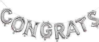 SOLDOUT™ 16 Inch Alphabet Letters Balloons CONGRATS Party Decoration Aluminum Foil Membrane Balloon (Silver)