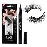 Onkessy Magnetic Eyelashes With Eyeliner,9D Synthetic Mink Lashes & Adhesive Eyeliner Kit,No Glue No Magnet Quickly Stick False Eyelashes