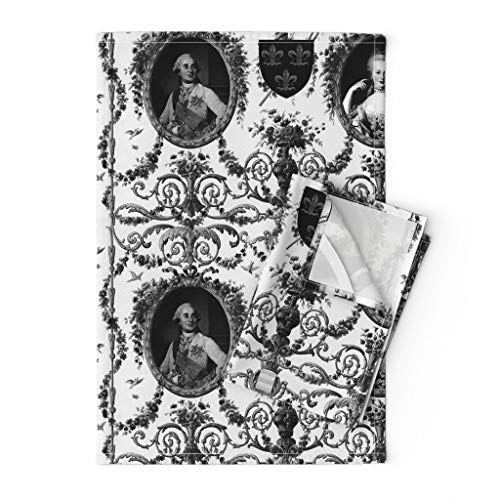 Rococo Tea Towels France French Toile Baroque Marie Antoinette King by Peacoquettedesigns Set of 2 Linen Cotton Tea Towels