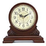 Reloj de sobremesa Antiguo, Reloj de Manto de Madera Maciza con Pilas Reloj de Cuarzo silencioso Reloj de Mesa Decorativo Reloj de Escritorio Adecuado para el hogar Sala de Estar y Dormitorio