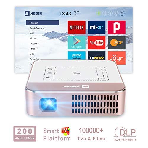 "AODIN Wow Mini Beamer WiFi 200 ANSI Lumen tragbarer LED DLP Heimkino Projektor, unterstützt 4K Filme, 300\"" HDR Mini TV-Beamer fachlich für Heimkino & PC-Spiele"