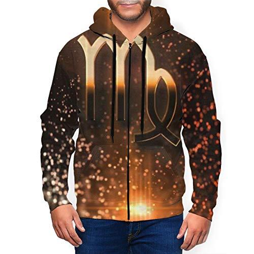 Virgo Logo - Sudadera con capucha para hombre con cremallera completa y bolsillos para uso diario