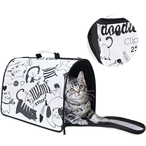LKZNT Haustier-Tragetasche für Hundekäfig, Clipart und Katzen, tragbar, mit Rutschfester Unterlage, Schwarz/Weiß