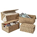 Artera Wicker Storage Basket - Set of 3 Woven Seagrass Baskets with Lid and Handle for Organizing, Large Rectangular Natural Nesting Storage Bins for Bedroom, Bathroom, Laundry Room (Set of 4)