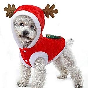 Vêtements de Noël pour chien Chaud hiver manteau de velours Hoodies Vêtements Mignon Santa Elk Rennes Flanelle Costume de Chat Chiens de compagnie Chien Cavalier Jumper Déguisement de Noël Costume