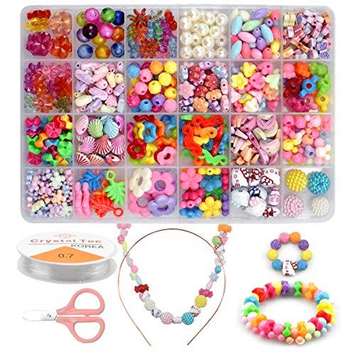 Kits de Bijoux Bricolage Perles pour Enfants,24 Types DIY Perles Set 540 Pcs Kit de Loisirs Créatifs Activite Enfant Fabrication de Bracelet Collier Bandeau Cadeau pour Enfants Filles de 4 ans 5 6 7 8