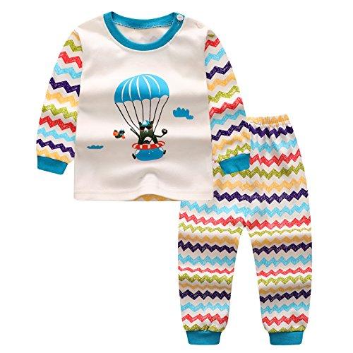 Mxssi Pigiama Set per Bambini Ragazze Ragazzi Neonato Camicie + Pantaloni Homewear Indumenti da Notte in Cotone Pajama Indumenti da Notte Vestiti a Manica Lunga...