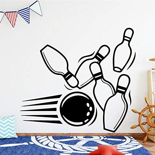 JZYIH Bowling Ball Vinyl-Wandaufkleber Kunst Aufkleber Wandaufkleber für Kinder Wohnzimmer Aufkleber Heimdekoration, braun, XL 58cm X 52cm