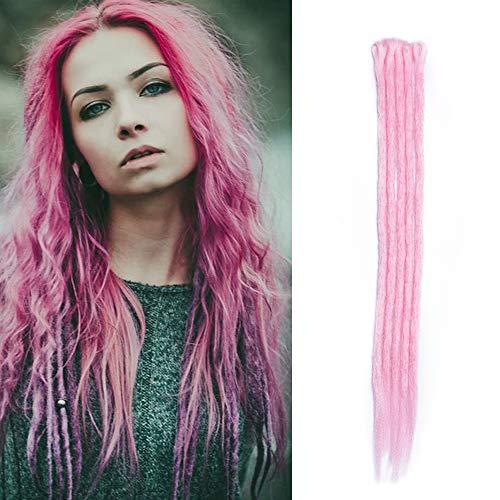 Dreadlocks Braids Extensions Synthetische Braiding Hair Crochet Dreads Haarteil Haarverlängerung handgefertigt Rosa 5 Strähnen-20