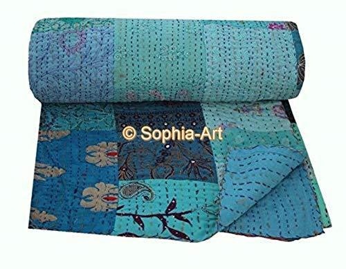 Handmade Vintage Khambadiya Print Hand Jari Patchwork King/Twin Size Embroidery Kantha Quilt Home Decorative Khambadiya Kantha Quilt Kantha Bedspread Indian Blanket Coverlet (Turquoise, 60'90')