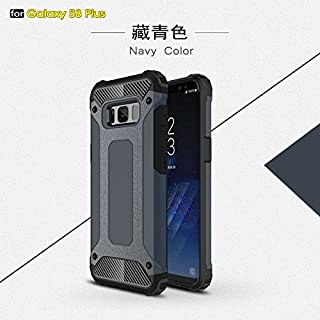 Protective Case Compatible with Samsung Dual Layer Heavy Duty Hybrid Armour Tough Style Shockproof PC+TPU Protective Hard Case Compatible Samsung Galaxy S8 Plus Phone case (Color : Navy)