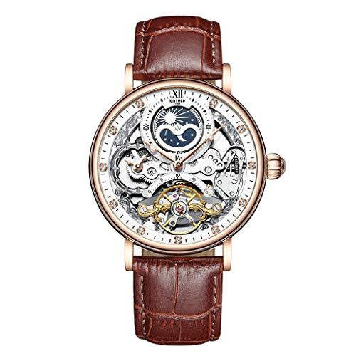 joyMerit Caja de Acero Inoxidable del Reloj del Cronógrafo del Reloj Automático Mecánico Masculino - Marrón + Oro Rosa