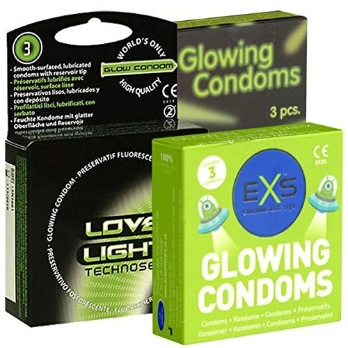 Der Kondomotheke® Glow Mix Nr. 2 (EXS, LoveLight, Dansex) 3 Schachteln Neon Kondome (leuchten im Dunkeln)