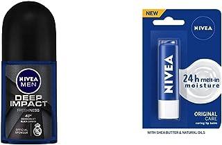 NIVEA Men Deodorant Roll On, Deep Impact Freshness, 48 h Anti Perspirant Freshness, 50 mlNIVEA Lip Balm, Original Care, fo...