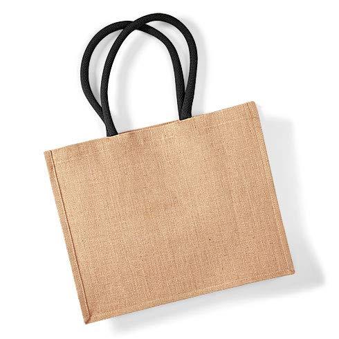 Jute Classic Shopper - Farbe: Natural/Black - Größe: 42 x 33 x 19 cm