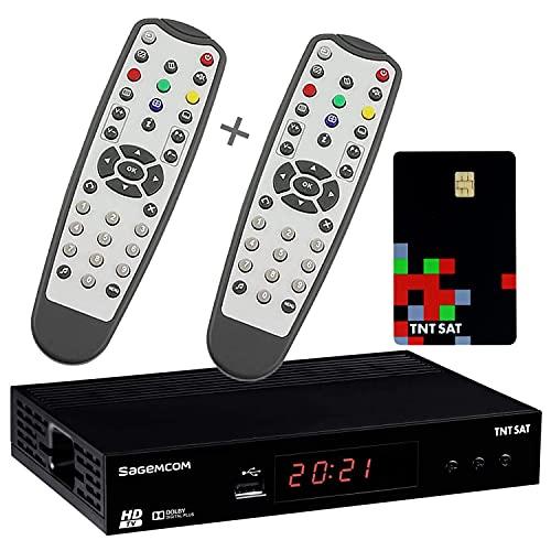 Sagemcom Receptor de TV satélite HD + 2 mandos a Distancia + Tarjeta de Acceso TNTSAT V6 Astra 19.2E