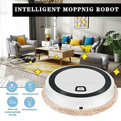 YAMY Full Intelligent Mopping Robot, Charging Robot Vacuum Cleaner, Mini Robotic Vacuum Cleaner, Powerful Cleaning System Best for Pet Hairs Hard Floors & Medium-Pile Carpets (White)